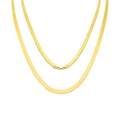 £305.31 • Buy 14K Yellow Gold Solid 5mm High Polished Silk Herringbone Chain Necklace 14 - 24