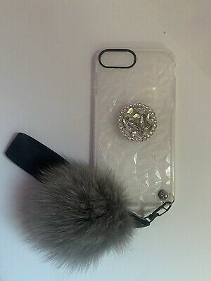Clear IPhone 6 Plus Hard Case With Faux Fur Ball, Strap, And Phone Grip Stand • 10.63£