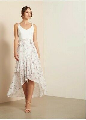 AU80.50 • Buy Forever New High Low White Floral Dress Bnwt S14
