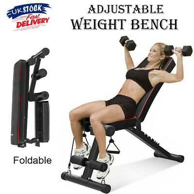 £46.99 • Buy Adjustable Weight Bench Exercise Flat Incline Decline Sit Up Lifting Barbell Gym