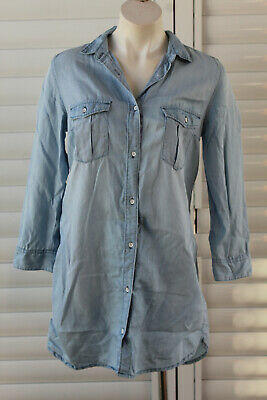 AU15 • Buy 🇮🇱size 10 H&m Blue Chambray Long Sleeve Button Front Denim Shirt Dress To Knee