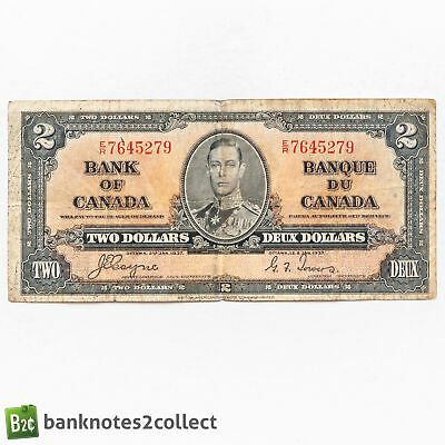 CANADA: 1 X 2 Canadian Dollar Banknote. Dated 02.01.37. • 0.99£