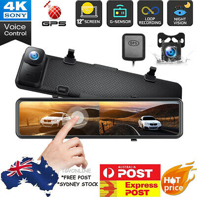 AU174.99 • Buy TOGUARD 4K 12  Mirror Dash Cam GPS Front And Rearview Car Camera Voice Control