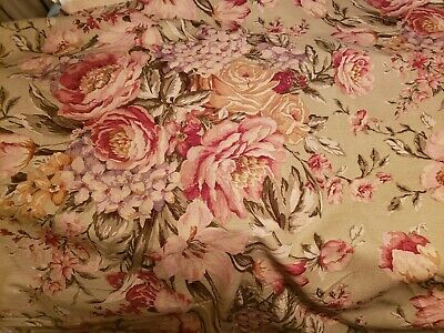 CABBAGE ROSE FLORAL DESIGN RED TAUPE LINEN  COTTON 2 Remnant Pieces  FABRIC  • 10.73£