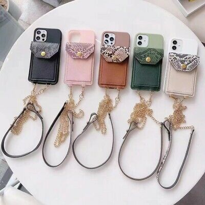 AU11.48 • Buy Serpentine With Neck Strap Crossbody Credit Card Holder Leather TPU Phone Case