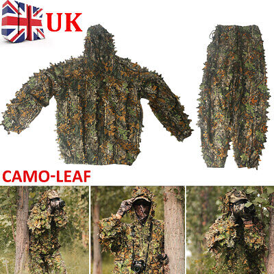 3D Leaf Camouflage Ghillie Suit Set Clothing Jungle Forest Hunting Sniper Train • 16.99£