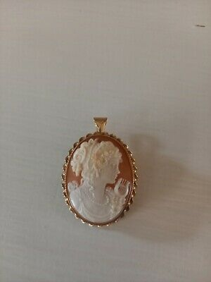 Cameo Brooch/pendant 9ct Gold • 10.50£