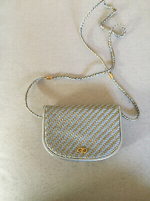 AU250 • Buy Gucci Hand Bag - Mini Metallic Silver& Gold Woven- Crossbody & Clutch Vintage