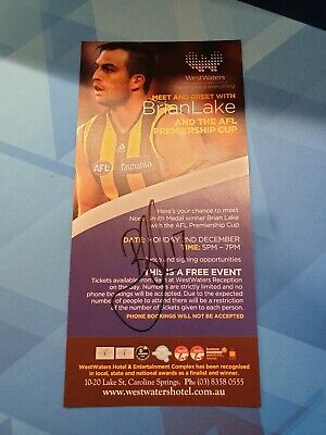 AU25 • Buy 2013 AFL Hawthorn Premiers Brian Lake WestWaters Hotel Signed Promo Flyer Rare