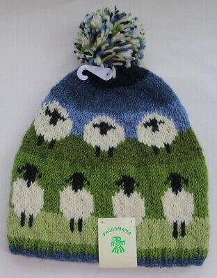 NEW Pachamama Fair Trade Hand Knitted 100% Wool Bobble Beanie FLOCK OF SHEEP Hat • 21£