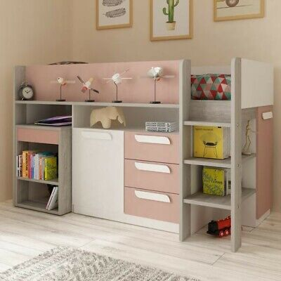 £200 • Buy Cabin Bed With Desk, Drawers, Wardrobe, Shelf. Trasman Pink Girona Midslee