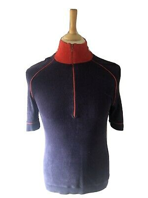 $ CDN2.04 • Buy Mens Vintage T-Shirt, 70s Terry Cloth Terry Towelling Turtle Neck, Roll Zip Neck