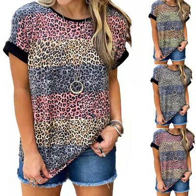 £8.69 • Buy Womens Leopard Print Summer T-shirt Tops Ladies Loose Casual Blouse Sizes 6-20
