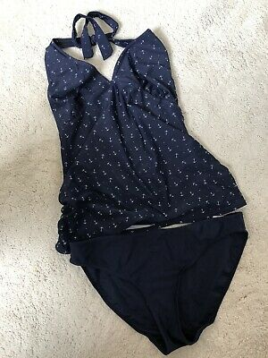 £0.99 • Buy BLOOMING MARVELLOUS Maternity Navy Tankini Swimming Costume Swimsuit Size 12
