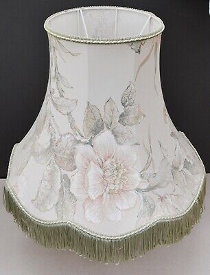£38 • Buy Vintage Standard Lampshade, Large Floral Fringed Lampshade With Shade Carrier