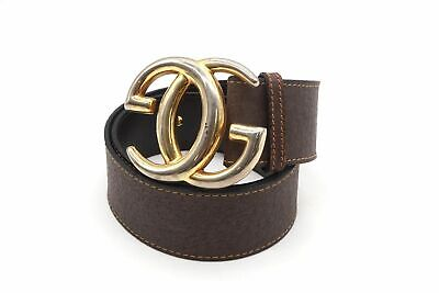 AU194.64 • Buy GUCCI Vintage 65 GG Logo Buckle Waist Mark Thick Belt Leather Brown 4903k