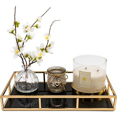 £25.99 • Buy Rectangular Gold Decorative Dressing Table/Serving Tray With Black Mirror Glass