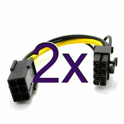 £3.73 • Buy [2 Pack] 10cm PCI Express PCIe 6 Pin To 8 Pin Graphics Card Power Adapter Cable