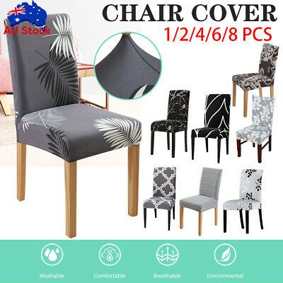 AU5.26 • Buy 1-8 PCS Dining Chair Covers Spandex Stretch Cover Washable Wedding Banquet Party