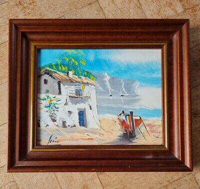 Small Oil Painting Mediterranean Sea Beach Setting - Signed By Artist  • 9.99£
