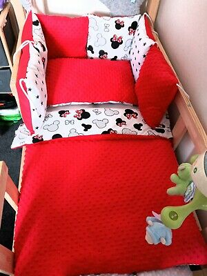 £39 • Buy COT BEDDING SET RED MINKY DIMPLE FLEECE MICKY MOUSE NEW60x120cm
