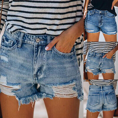 £11.29 • Buy Womens High Waist Distressed Jeans Summer Denim Shorts Ripped Pants Size 10-16