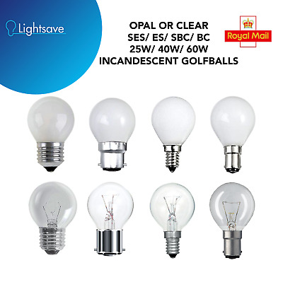 £4.89 • Buy Incandescent Opal /clear Golfball Sbc/ Bc/ Es/ Ses 25w/ 40w/ 60w Lightbulb Lamps