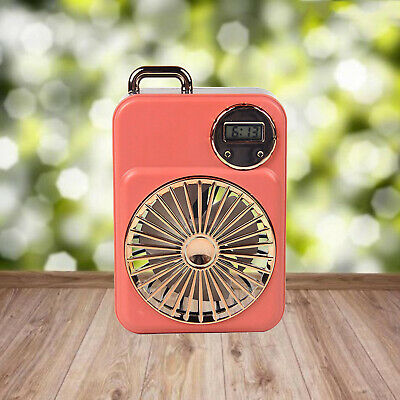 AU12.36 • Buy Small USB Rechargeable Portable Desk Fan With Clock Quiet For Camping Sports