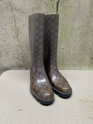 £70 • Buy PREOWNED AUTHENTIC GUCCI WELLINGTON BOOTS- EU SIZE 36 Will Dot A Uk 4