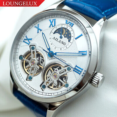 $ CDN106.41 • Buy Mens Double Flywheel Automatic Mechanical Watch Silver White Dial Blue Leather