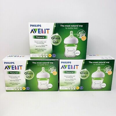AU70.21 • Buy 3 Boxes Philips Avent 4 Oz Natural Glass Baby Bottle 9 Bottles Total New Sealed