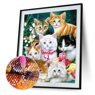 AU8.63 • Buy 5D Cats Diamond Painting Embroidery DIY Cross Stitch Home Decor Crafts Gift