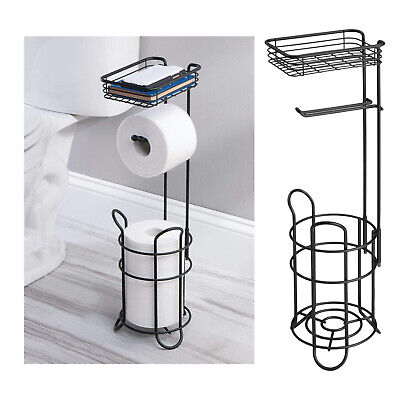 AU38.96 • Buy Freestanding Iron Toilet Paper Roll Holder Stand Rack Dispenser With Storage