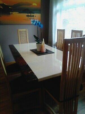 £399 • Buy Large Marble Dining Table 6 Chairs