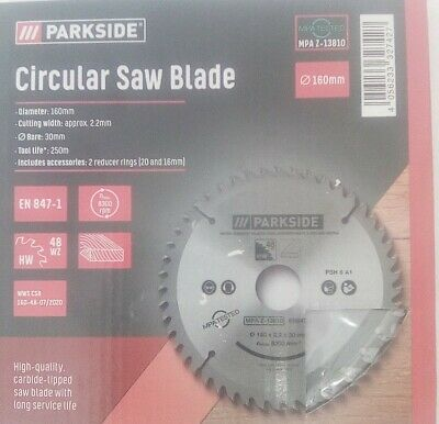 £7.99 • Buy * PARKSIDE Circular 160mm Saw Blades 48 Teeth 30mm Bore Carbide Tipped :