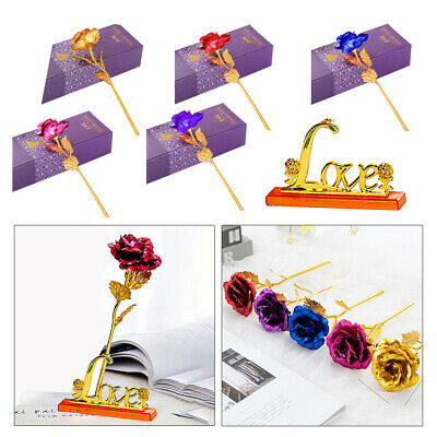 AU9.43 • Buy 24K Gold Foil Plated Eternal Rose Dipped Flower Valentine's Day Gift For Her