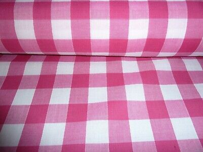 £3.25 • Buy Cerise Pink And White 1  Gingham Check Poly Cotton Fabric By The Metre Free Post