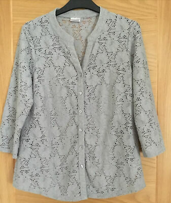 £4 • Buy Grey Lace Blouse/Shirt? W Camisole Top By Damart, Size 10/12 -measurements Below