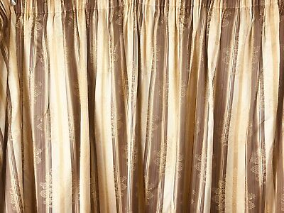 £75 • Buy Pair Of Bespoke Lined Bay Window Curtains Gold Cream Brown 84 Drop X 134  Wide