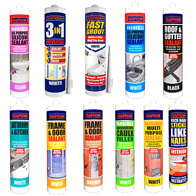 £4.25 • Buy All Purpose Silicone Sealant Filler Acrylic Clear White Brown Black Waterproof