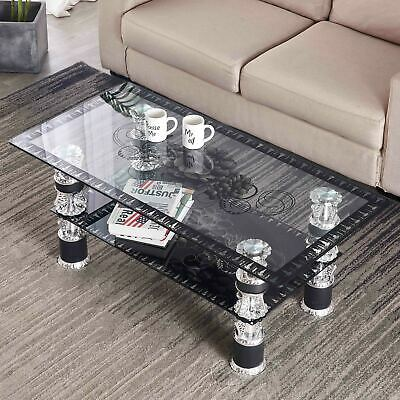 £53.99 • Buy LX Glass Coffee Table With Storage Shelf Rectangle Modern Living Room Furniture