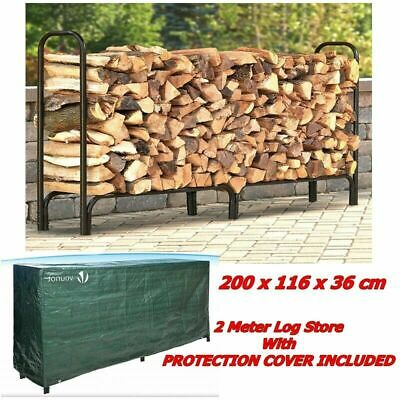 £65.31 • Buy Large Log Store Metal Outdoor Storage Wood Rack With Rain Protecting Cover 2m