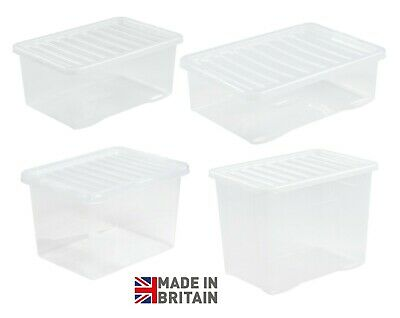 £10.95 • Buy Wham Plastic Storage Boxes Stackable Containers Clear With Secure Clip Lid UK
