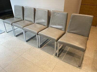 £50 • Buy 5 Calligaris Leather Dining Chairs Grey With Metel Legs (upholstered)