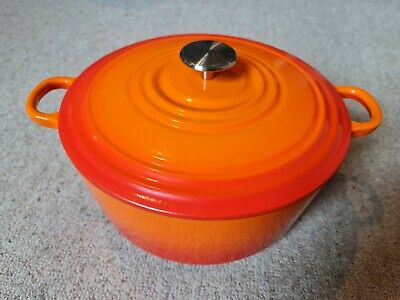£6.50 • Buy 26cm Cast Iron Casserole Dish - Volcanic Orange - Sainsburys - Le Creuset Style