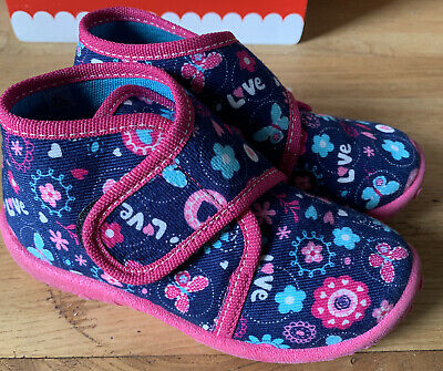 £8 • Buy Infant Toddler Slippers By Superfit Size EU24 UK 7 Blue & Pink Hearts & Flowers