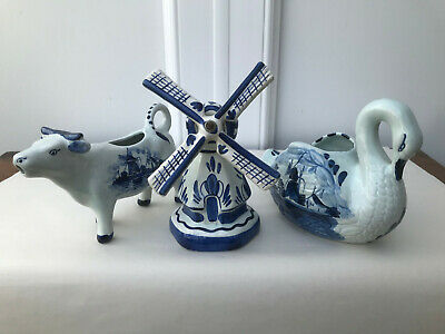 £14 • Buy Three Delft Holland Blue And White Items: A Windmill, A Cow Creamer And A Swan