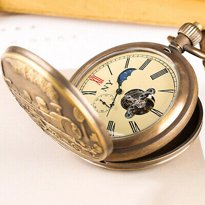 £49.95 • Buy Antique Vintage Pocket Watch Mechanical Tourbillon Moon Phase Collection Gifts