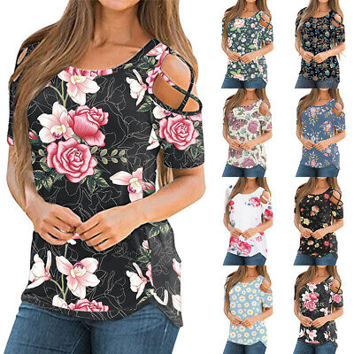 £6.95 • Buy Womens Floral Summer Casual T-shirt Cold Shoulder Tee Tops Short Sleeve Blouse