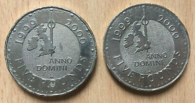 £20 • Buy 2 X £5 Pounds Coin In AFine Condition From 1999 2000. Millenium. Anno Domini